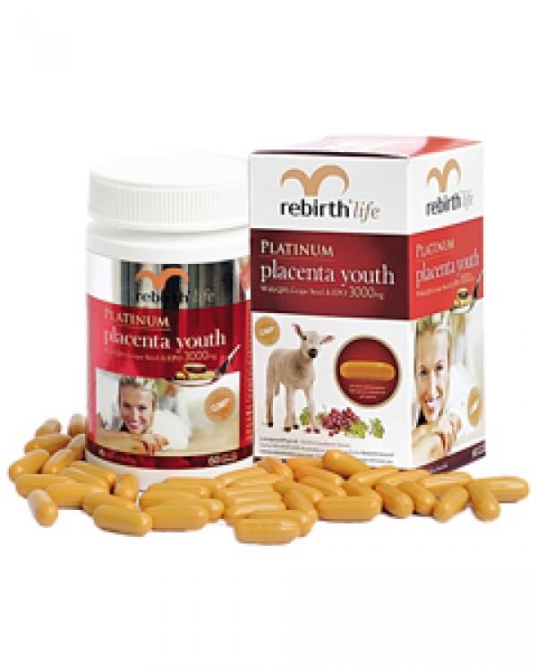 Nhau thai cừu Rebirth Life Platinum Placenta Youth 60 capsules